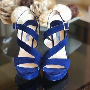 LIKE NEW PRADA Royal Blue Suede Platform Sandals